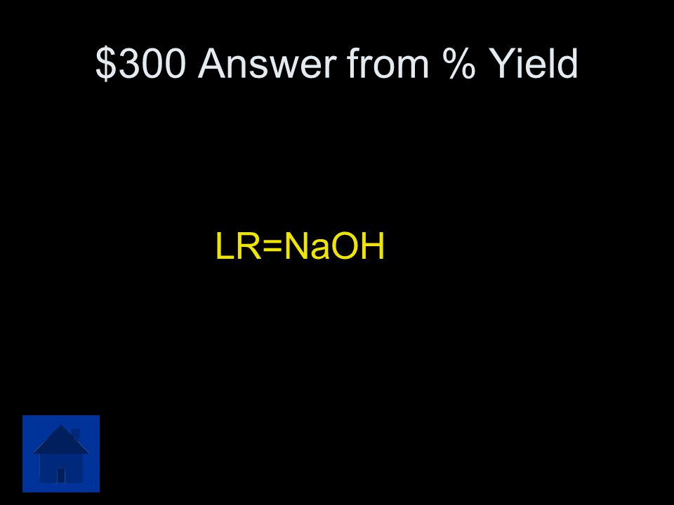 $300 Question from % Yield There are 100.0 grams of each reactant available. Determine the limiting reactant in this equation. SO 2 + 2NaOH → Na 2 SO