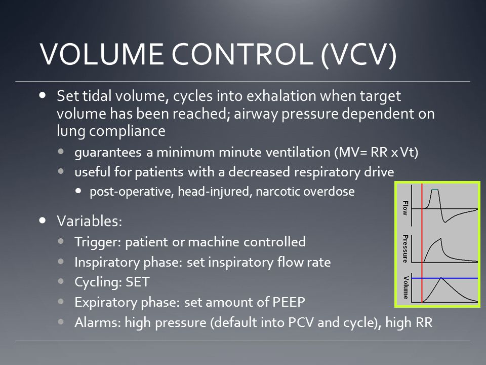 VOLUME CONTROL (VCV) Set tidal volume, cycles into exhalation when target volume has been reached; airway pressure dependent on lung compliance guarantees a minimum minute ventilation (MV= RR x Vt) useful for patients with a decreased respiratory drive post-operative, head-injured, narcotic overdose Variables: Trigger: patient or machine controlled Inspiratory phase: set inspiratory flow rate Cycling: SET Expiratory phase: set amount of PEEP Alarms: high pressure (default into PCV and cycle), high RR