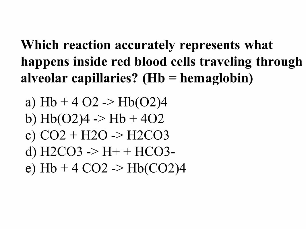 Which reaction accurately represents what happens inside red blood cells traveling through alveolar capillaries.