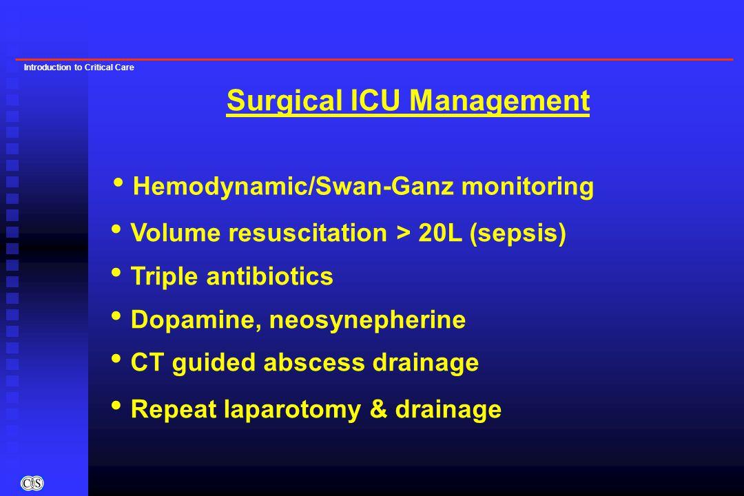 Introduction to Critical Care Hemodynamic/Swan-Ganz monitoring Volume resuscitation > 20L (sepsis) Triple antibiotics Dopamine, neosynepherine CT guid