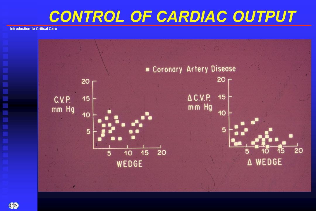 Introduction to Critical Care CONTROL OF CARDIAC OUTPUT