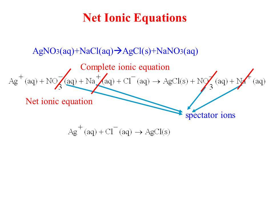 Net Ionic Equations AgNO 3 (aq)+NaCl(aq)  AgCl(s)+NaNO 3 (aq) Complete ionic equation spectator ions Net ionic equation