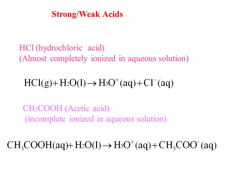 HCl (hydrochloric acid) (Almost completely ionized in aqueous solution) Strong/Weak Acids CH 3 COOH (Acetic acid) (incomplete ionized in aqueous solution)