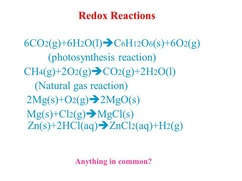 Redox Reactions 6CO 2 (g)+6H 2 O(l)  C 6 H 12 O 6 (s)+6O 2 (g) (photosynthesis reaction) CH 4 (g)+2O 2 (g)  CO 2 (g)+2H 2 O(l) (Natural gas reaction) 2Mg(s)+O 2 (g)  2MgO(s) Mg(s)+Cl 2 (g)  MgCl(s) Zn(s)+2HCl(aq)  ZnCl 2 (aq)+H 2 (g) Anything in common