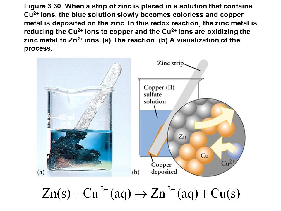 Figure 3.30 When a strip of zinc is placed in a solution that contains Cu 2  ions, the blue solution slowly becomes colorless and copper metal is deposited on the zinc.