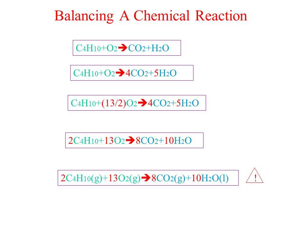 Balancing A Chemical Reaction C 4 H 10 +O 2  CO 2 +H 2 O C 4 H 10 +O 2  4CO 2 +5H 2 O C 4 H 10 +(13/2)O 2  4CO 2 +5H 2 O 2C 4 H 10 +13O 2  8CO 2 +10H 2 O 2C 4 H 10 (g)+13O 2 (g)  8CO 2 (g)+10H 2 O(l) !
