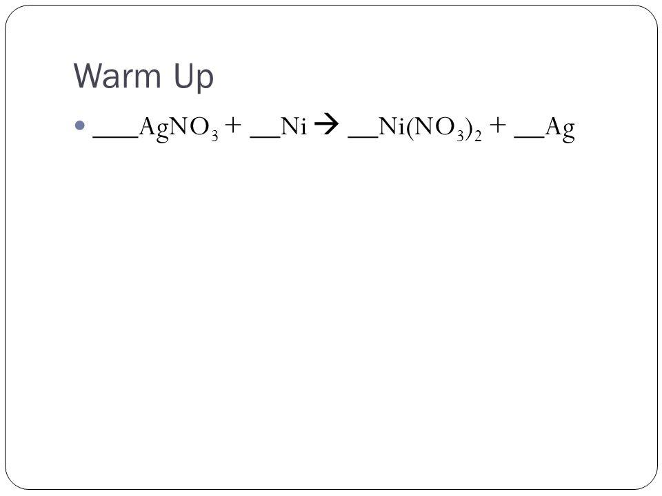 Warm Up ___AgNO 3 + __Ni  __Ni(NO 3 ) 2 + __Ag