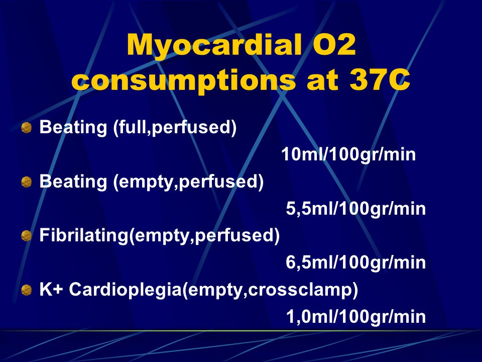 Myocardial O2 consumptions at 37C Beating (full,perfused) 10ml/100gr/min Beating (empty,perfused) 5,5ml/100gr/min Fibrilating(empty,perfused) 6,5ml/100gr/min K+ Cardioplegia(empty,crossclamp) 1,0ml/100gr/min