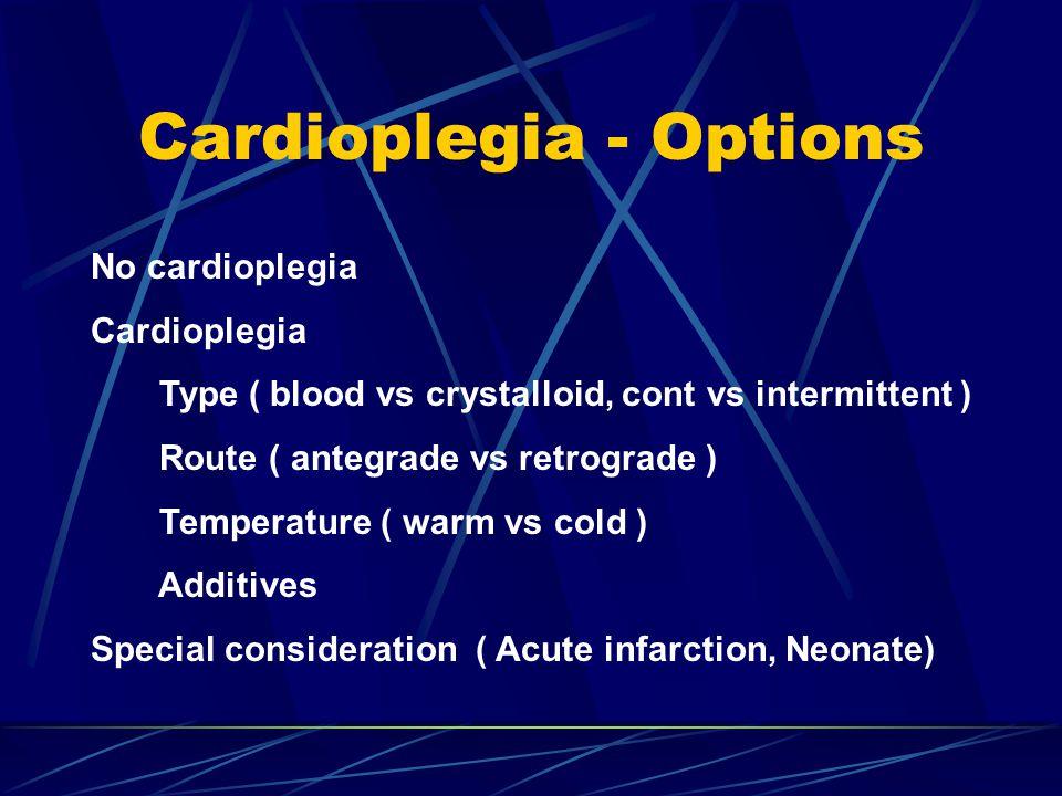 Cardioplegia - Options No cardioplegia Cardioplegia Type ( blood vs crystalloid, cont vs intermittent ) Route ( antegrade vs retrograde ) Temperature ( warm vs cold ) Additives Special consideration ( Acute infarction, Neonate)