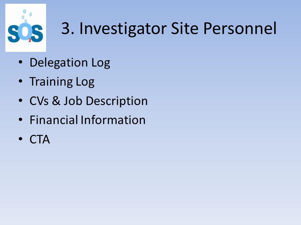 3. Investigator Site Personnel Delegation Log Training Log CVs & Job Description Financial Information CTA