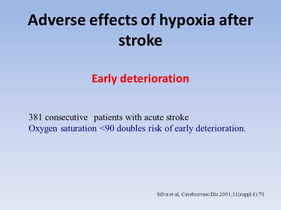 Adverse effects of hypoxia after stroke Increased mortality N=153 assessed from arrival and during transfers till ward admission Hypoxia defined as SpO2 10% of assessment phase Oxygen saturation lowest during transfers Hypoxic pts are more likely to have a history of chest problems Hypoxia doubles mortality, but no longer significant if corrected for stroke severity No effect on long-term disability Rowat et al.