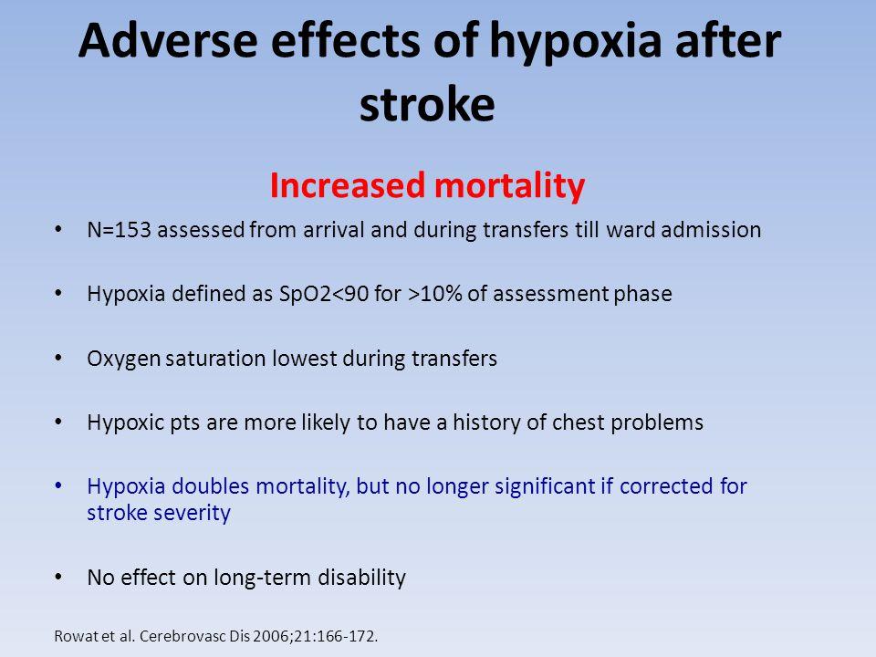 Adverse effects nocturnal hypoxia after stroke Silva,Cerebrovasc Dis 2001;11(suppl 4):70, Sandberg, JAGS 2001;49:391-397.