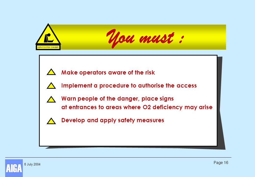 8 July 2004 Page 16 You must : ASPHYXIATION DANGER Make operators aware of the risk Implement a procedure to authorise the access Warn people of the d