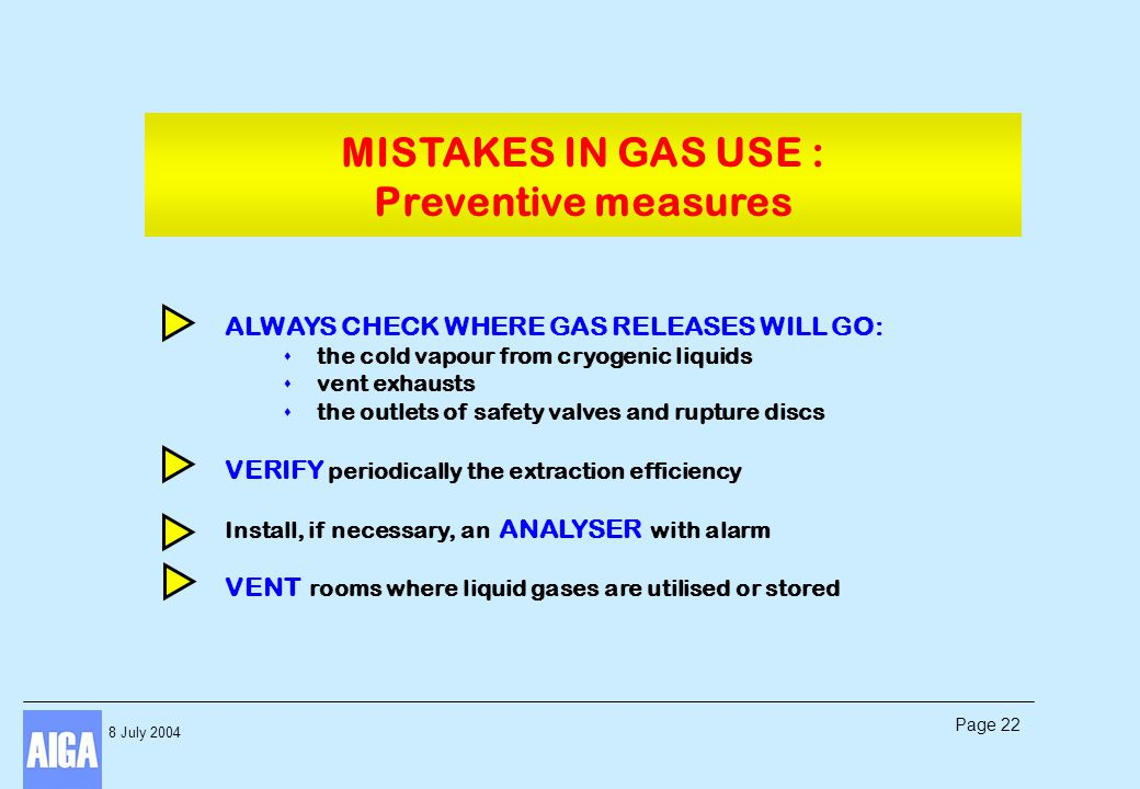 8 July 2004 Page 22 ALWAYS CHECK WHERE GAS RELEASES WILL GO: s the cold vapour from cryogenic liquids s vent exhausts s the outlets of safety valves a