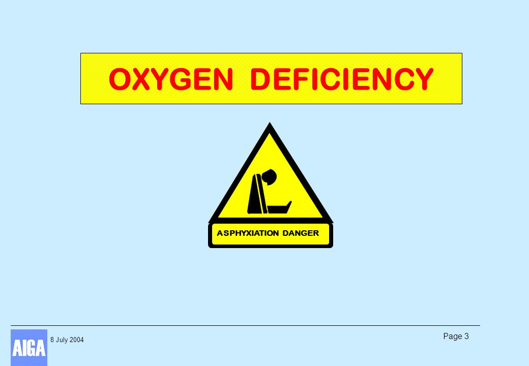 8 July 2004 Page 3 OXYGEN DEFICIENCY ASPHYXIATION DANGER