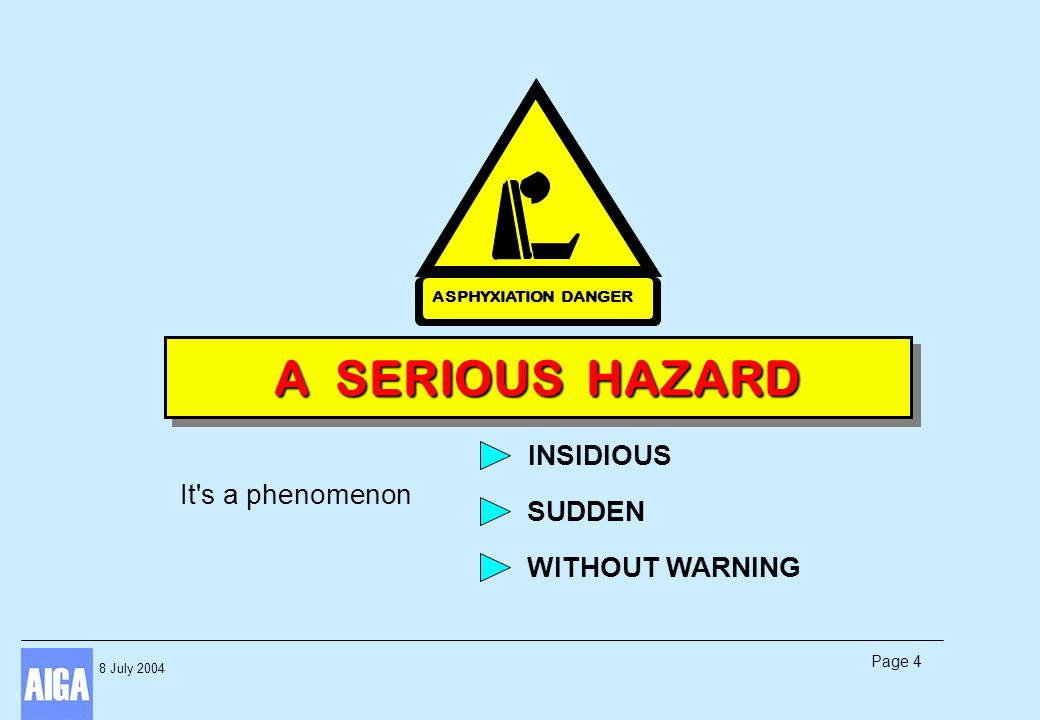 8 July 2004 Page 4 It's a phenomenon INSIDIOUS SUDDEN WITHOUT WARNING A SERIOUS HAZARD ASPHYXIATION DANGER