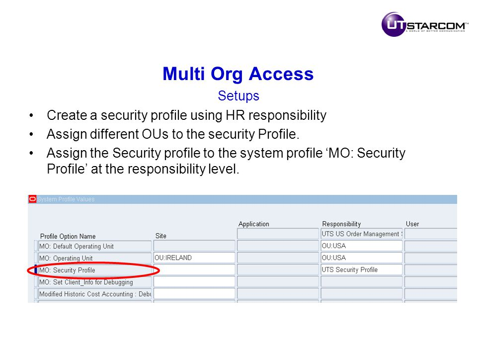 Multi Org Access Setups Create a security profile using HR responsibility Assign different OUs to the security Profile.