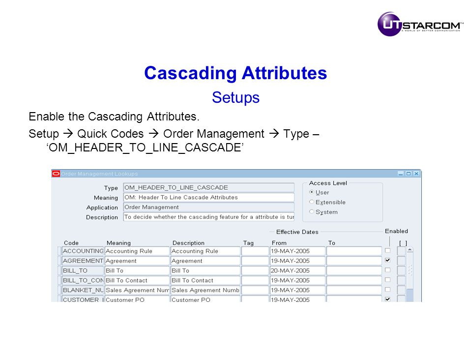 Cascading Attributes Setups Enable the Cascading Attributes.