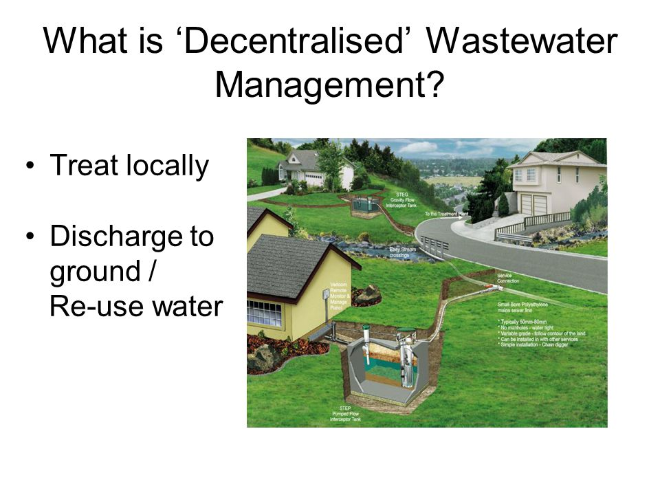 Water Reclamation in the US California –570,000 ML re-used in 1996 (4.4M people) –City of Avalon : separate non-potable distribution system –Irvine Ranch : Reclaimed water = 20% of water use –LA City : 120 ML/day to be re-used –LA County : 6 water reclamation plants Arizona –Re-uses 35% of municipal wastewater produced –Grand Canyon Village – 1 st dual distribution system