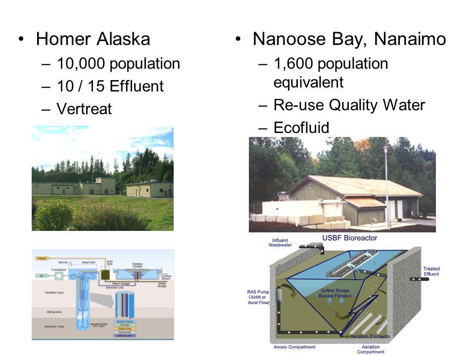Homer Alaska –10,000 population –10 / 15 Effluent –Vertreat Nanoose Bay, Nanaimo –1,600 population equivalent –Re-use Quality Water –Ecofluid