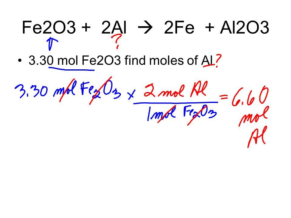 Fe2O3 + 2Al  2Fe + Al2O3 3.30 mol Fe2O3 find moles of Al