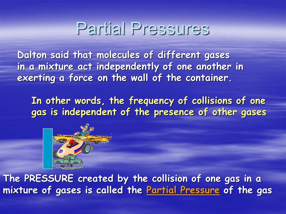 John Dalton (1766 – 1844) - Developed the Law of Partial Pressures (abt. 1801)
