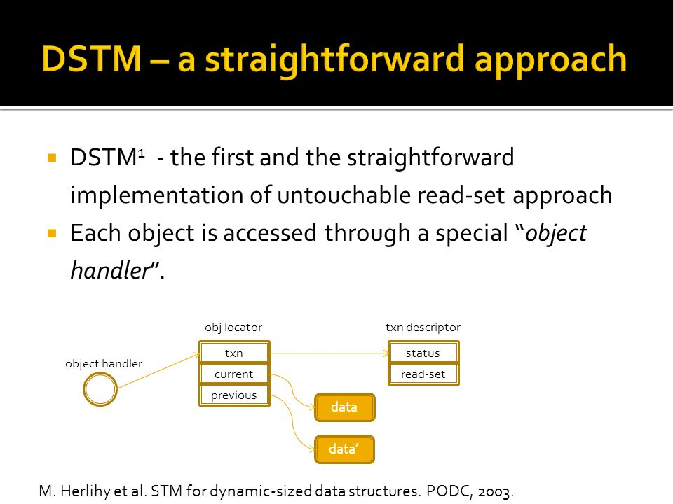  DSTM 1 - the first and the straightforward implementation of untouchable read-set approach  Each object is accessed through a special object handler .
