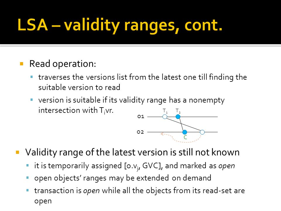  Read operation:  traverses the versions list from the latest one till finding the suitable version to read  version is suitable if its validity range has a nonempty intersection with T i vr.