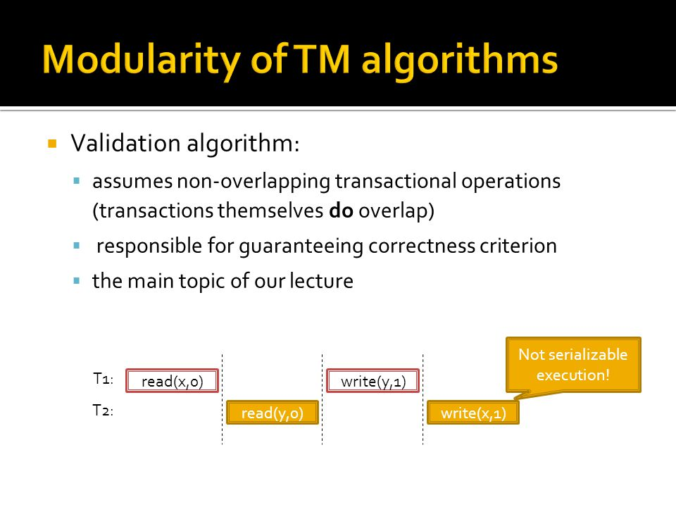  Validation algorithm:  assumes non-overlapping transactional operations (transactions themselves do overlap)  responsible for guaranteeing correctness criterion  the main topic of our lecture read(x,0) read(y,0) write(y,1) write(x,1) T1: T2: Not serializable execution!