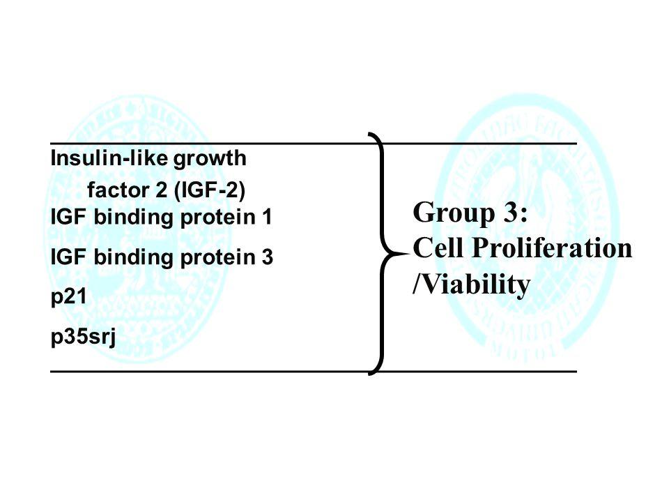 Insulin-like growth factor 2 (IGF-2) IGF binding protein 1 IGF binding protein 3 p21 p35srj Group 3: Cell Proliferation /Viability