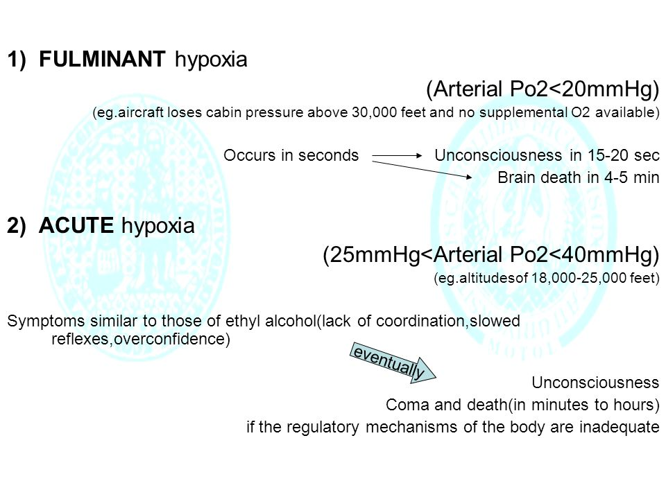 1) FULMINANT hypoxia (Arterial Po2<20mmHg) (eg.aircraft loses cabin pressure above 30,000 feet and no supplemental O2 available) Occurs in seconds Unconsciousness in 15-20 sec Brain death in 4-5 min 2) ACUTE hypoxia (25mmHg<Arterial Po2<40mmHg) (eg.altitudesof 18,000-25,000 feet) Symptoms similar to those of ethyl alcohol(lack of coordination,slowed reflexes,overconfidence) Unconsciousness Coma and death(in minutes to hours) if the regulatory mechanisms of the body are inadequate eventually