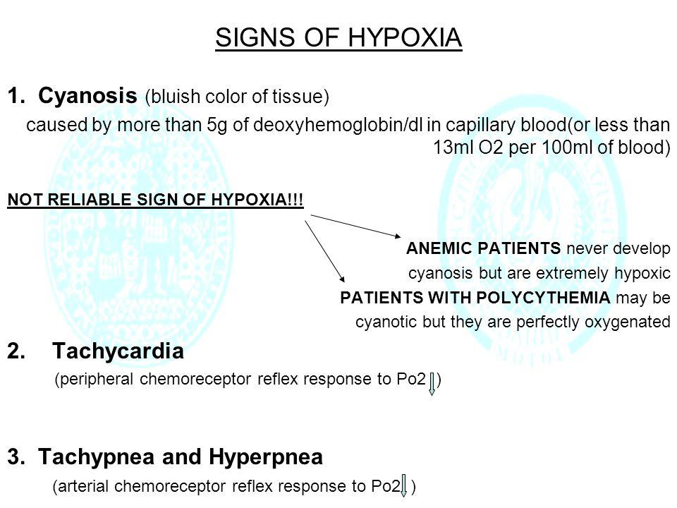 SUMMARY TYPE OF HYPOXIA Arterial Po2 Venous Po2 Arterial Pco2 Arterial Po2 during exercise Effect of 100% O2 ARTERIAL HYPOXIA Hypoventilation Arterial Pco2 Diffusion limitationArterial Po2>600mmHg Physiologic shunt Arterial Po2>600mmHg Anatomic shunt Arterial Po2<500mmHg STAGNANT HYPOXIA dissolved O2 ANEMIC HYPOXIA dissolved O2 HISTOTOXIC HYPOXIA dissolved O2
