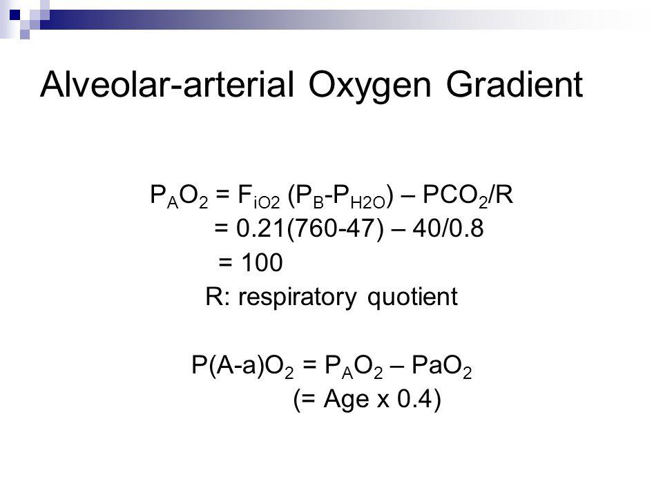 Alveolar-arterial Oxygen Gradient P A O 2 = F iO2 (P B -P H2O ) – PCO 2 /R = 0.21(760-47) – 40/0.8 = 100 R: respiratory quotient P(A-a)O 2 = P A O 2 – PaO 2 (= Age x 0.4)