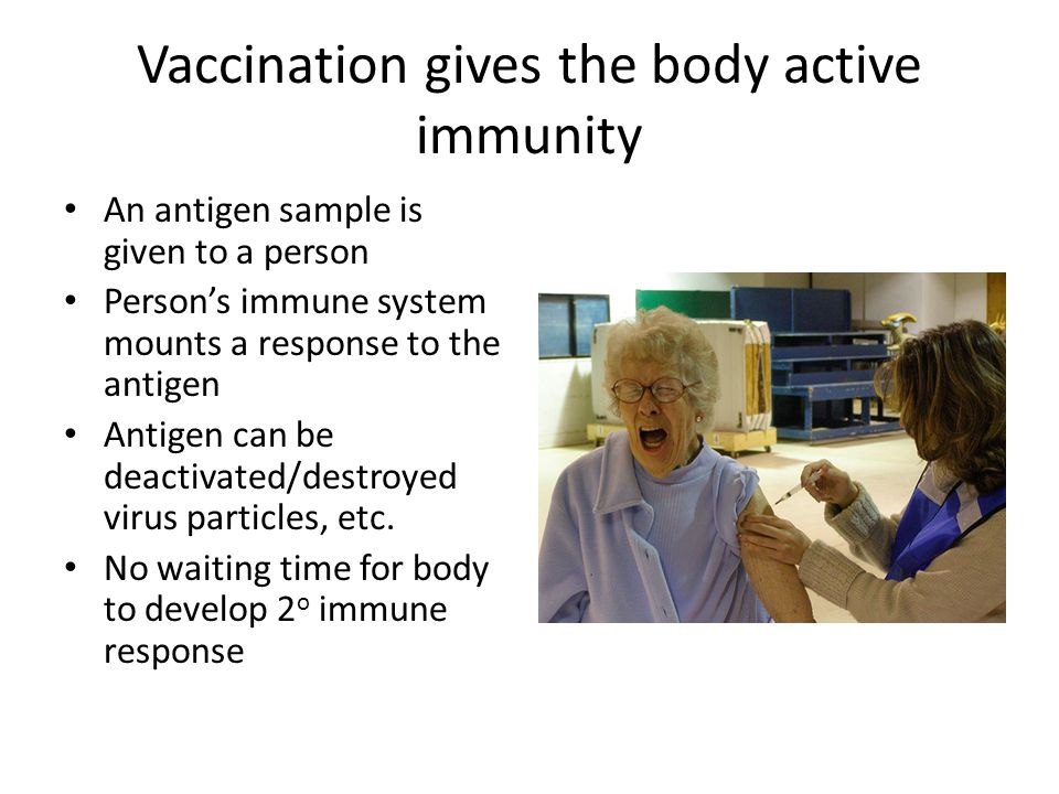 Vaccination gives the body active immunity An antigen sample is given to a person Person's immune system mounts a response to the antigen Antigen can be deactivated/destroyed virus particles, etc.