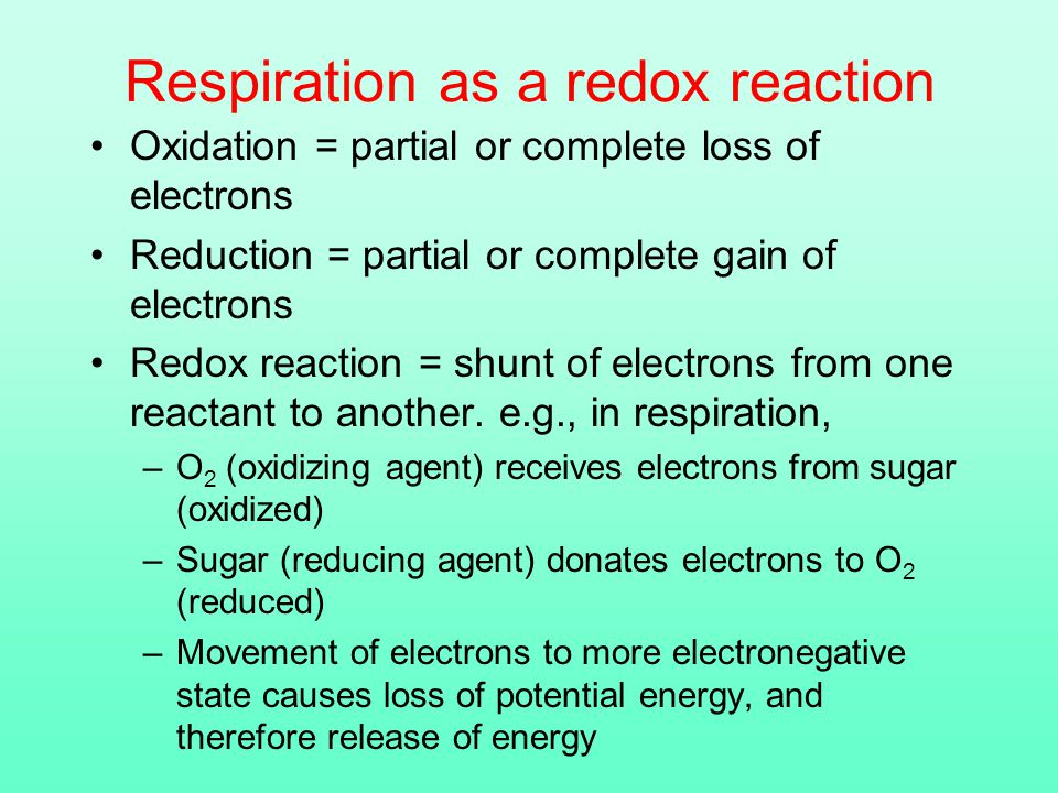 Respiration as a redox reaction Oxidation = partial or complete loss of electrons Reduction = partial or complete gain of electrons Redox reaction = shunt of electrons from one reactant to another.