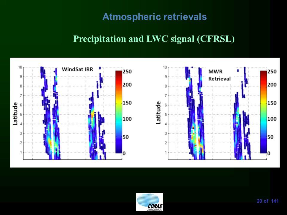 20 of 141 Atmospheric retrievals Precipitation and LWC signal (CFRSL)