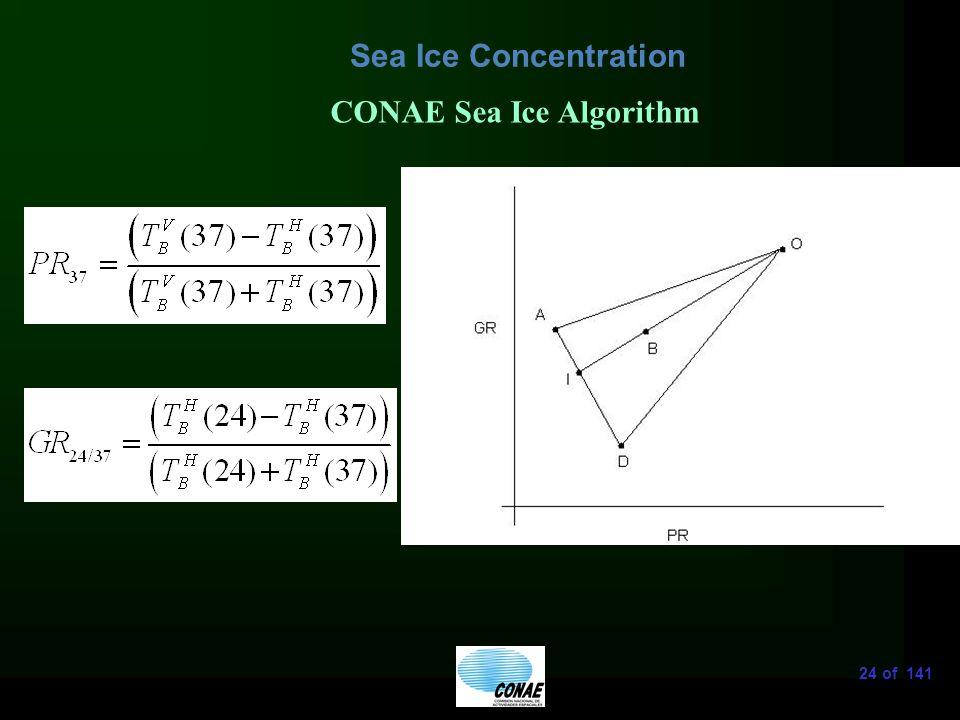 24 of 141 Sea Ice Concentration CONAE Sea Ice Algorithm