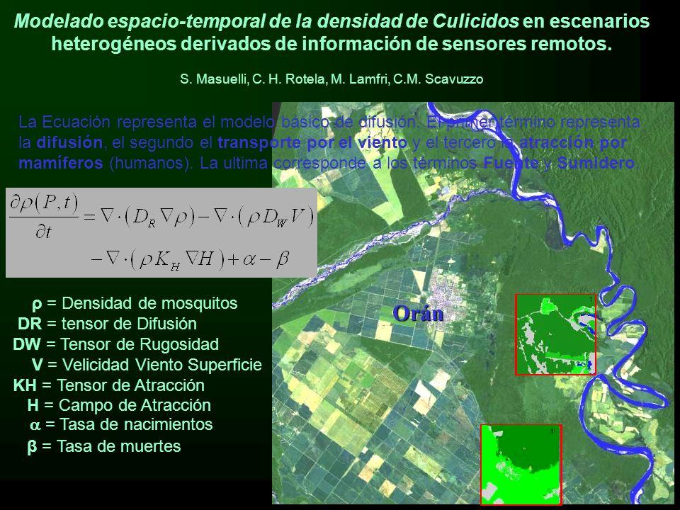 5 of 141 ρ = Densidad de mosquitos DR = tensor de Difusión DW = Tensor de Rugosidad V = Velicidad Viento Superficie KH = Tensor de Atracción H = Campo de Atracción  = Tasa de nacimientos β = Tasa de muertes Modelado espacio-temporal de la densidad de Culicidos en escenarios heterogéneos derivados de información de sensores remotos.