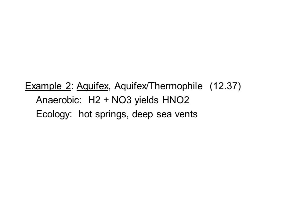 Example 2: Aquifex, Aquifex/Thermophile (12.37) Anaerobic: H2 + NO3 yields HNO2 Ecology: hot springs, deep sea vents