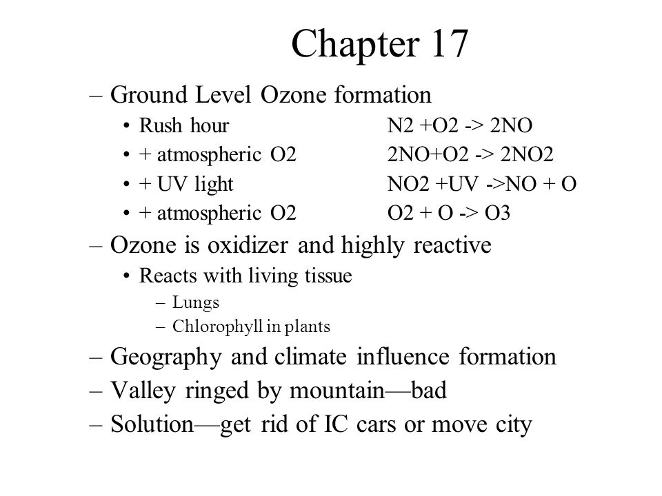 Chapter 17 Other air pollutants –Lead –Toxics –Radon Control of Air Pollution –Solutions depend on willingness of governments, industry and individuals to make changes Pollution control in cars Particulates SOx