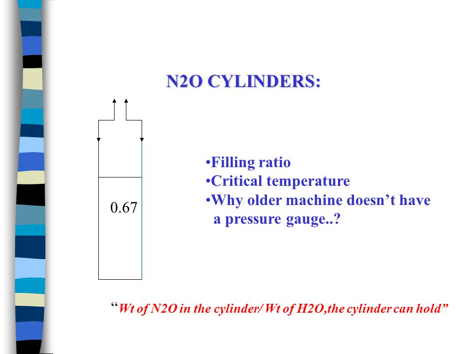 51 atm 25 atm18 atm 75atm 94atm 20C -10C-20C 37C 45C PRESSURE IN N2O CYLINDERS