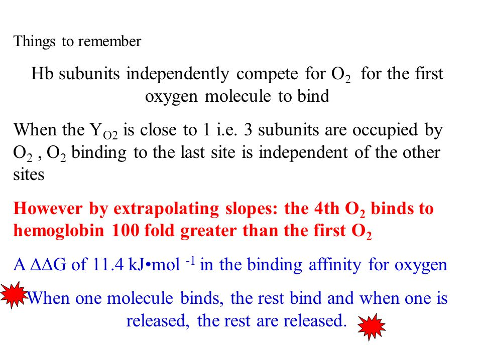 Things to remember Hb subunits independently compete for O 2 for the first oxygen molecule to bind When the Y O2 is close to 1 i.e.