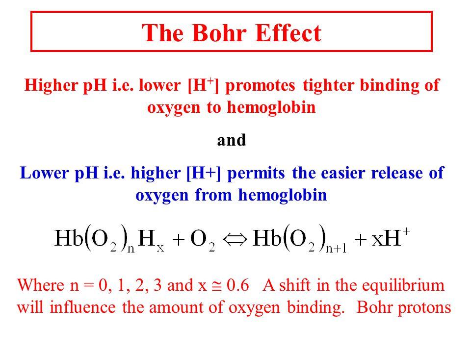 The Bohr Effect Higher pH i.e.