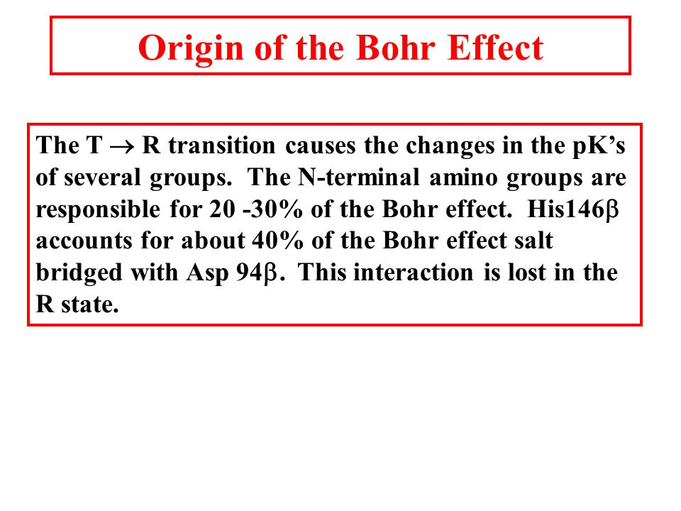 Origin of the Bohr Effect The T  R transition causes the changes in the pK's of several groups.