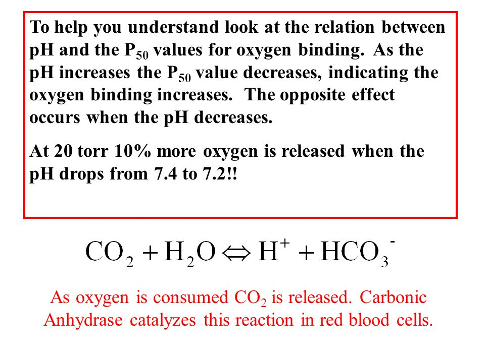 To help you understand look at the relation between pH and the P 50 values for oxygen binding.