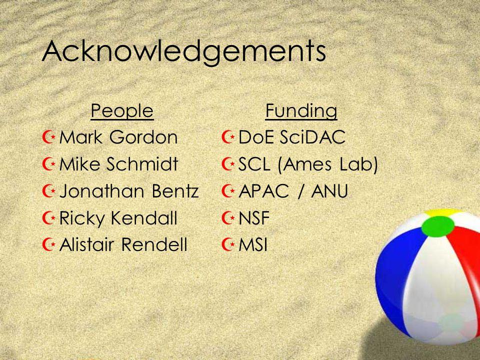 Acknowledgements People ZMark Gordon ZMike Schmidt ZJonathan Bentz ZRicky Kendall ZAlistair Rendell Funding ZDoE SciDAC ZSCL (Ames Lab) ZAPAC / ANU ZNSF ZMSI