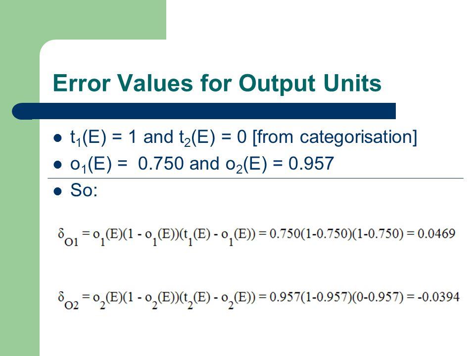Error Values for Output Units t 1 (E) = 1 and t 2 (E) = 0 [from categorisation] o 1 (E) = 0.750 and o 2 (E) = 0.957 So: