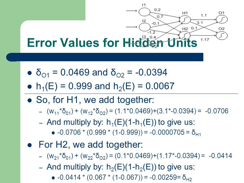 Error Values for Hidden Units δ O1 = 0.0469 and δ O2 = -0.0394 h 1 (E) = 0.999 and h 2 (E) = 0.0067 So, for H1, we add together: – (w 11 *δ 01 ) + (w 12 *δ O2 ) = (1.1*0.0469)+(3.1*-0.0394) = -0.0706 – And multiply by: h 1 (E)(1-h 1 (E)) to give us: -0.0706 * (0.999 * (1-0.999)) = -0.0000705 = δ H1 For H2, we add together: – (w 21 *δ 01 ) + (w 22 *δ O2 ) = (0.1*0.0469)+(1.17*-0.0394) = -0.0414 – And multiply by: h 2 (E)(1-h 2 (E)) to give us: -0.0414 * (0.067 * (1-0.067)) = -0.00259= δ H2