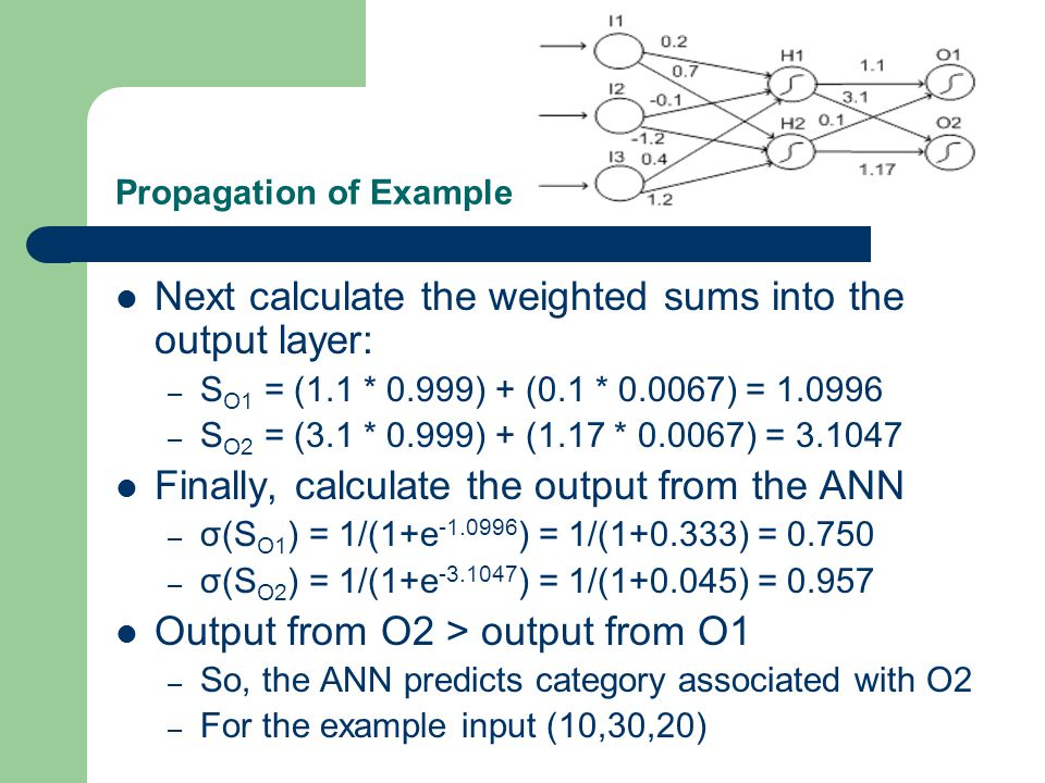 Propagation of Example Next calculate the weighted sums into the output layer: – S O1 = (1.1 * 0.999) + (0.1 * 0.0067) = 1.0996 – S O2 = (3.1 * 0.999)