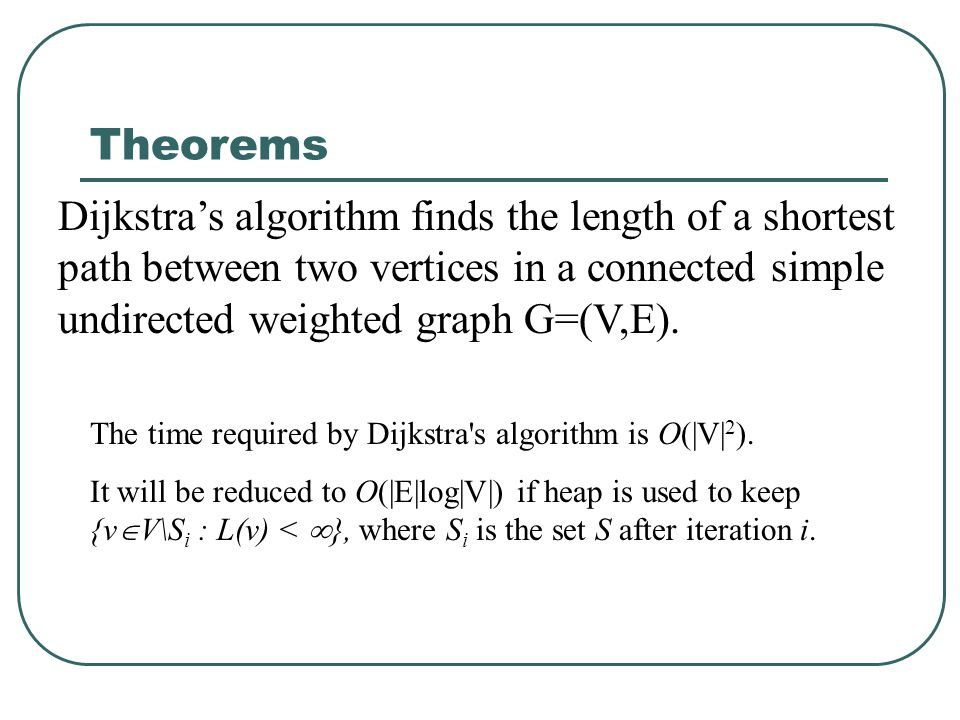 Theorems Dijkstra's algorithm finds the length of a shortest path between two vertices in a connected simple undirected weighted graph G=(V,E). The ti
